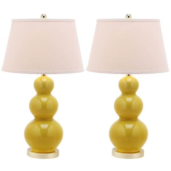 Safavieh Lighting 27-inch Amy Triple Gourd Yellow Table Lamps (Set of 2)