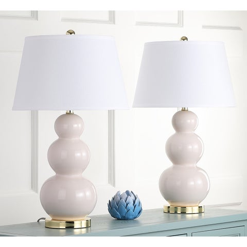 Safavieh Lighting 27-inch Amy Triple Gourd Pearl White Table Lamp (Set of 2)