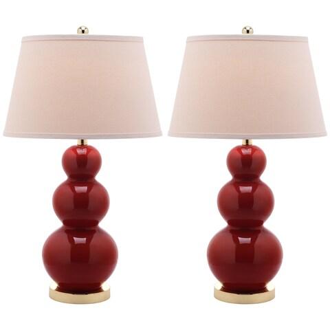 Safavieh Lighting 27-inch Amy Triple Gourd Red Table Lamp (Set of 2)