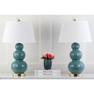 Safavieh Lighting 27-inch Amy Triple Gourd Marine Blue Table Lamps (Set of 2)
