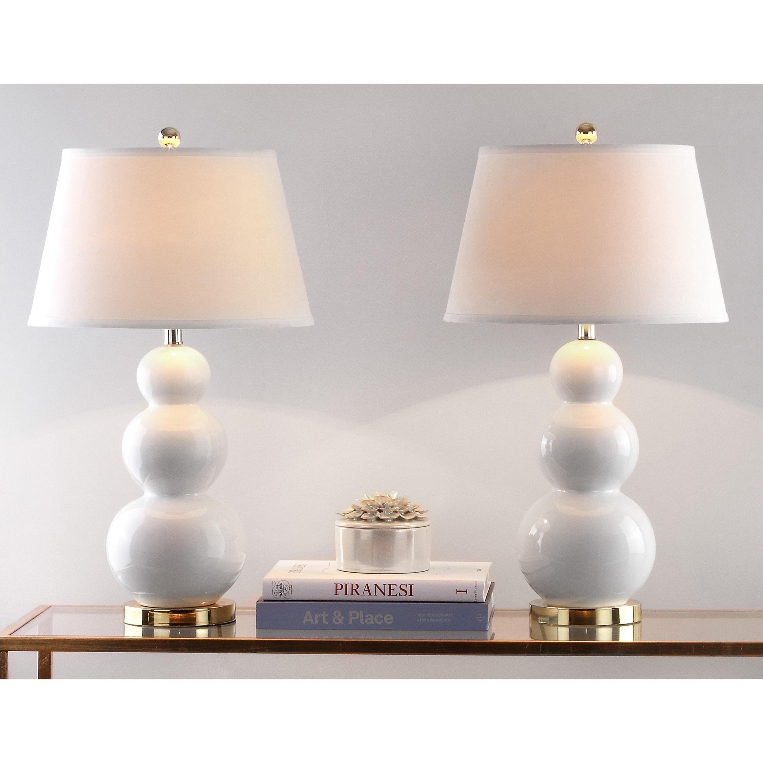 Safavieh Lighting 27 Inch Amy Triple Gourd White Table Lamp (Set Of 2)