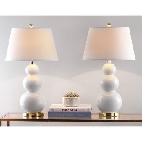 Safavieh Lighting 27-inch Amy Triple Gourd White Table Lamp (Set of 2)