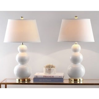 Safavieh Lighting 27-inch Amy Triple Gourd White Table Lamps (Set of 2)