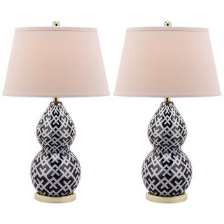 Safavieh Lighting 25.5-inch Cross Hatch Double Gourd Black Table Lamp (Set of 2)
