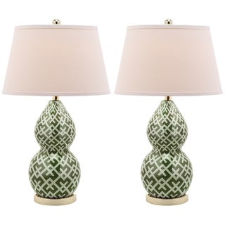 Safavieh Lighting 25.5-inch Cross Hatch Double Gourd Green Table Lamps (Set of 2)