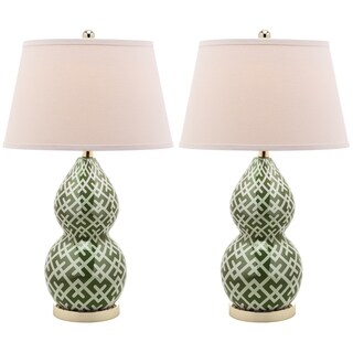 Safavieh Lighting 25.5-inch Cross Hatch Double Gourd Green Table Lamp (Set of 2)