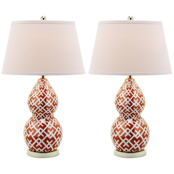 Safavieh Lighting 25.5-inch Cross Hatch Double Gourd Orange Table Lamps (Set of 2)