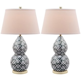 Safavieh Lighting 25.5-inch Cross Hatch Double Gourd Marine Blue Table Lamps