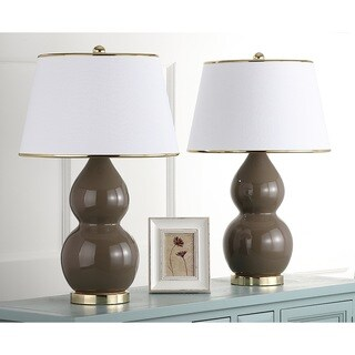 Safavieh Lighting 25.5-inch Zoey Double Gourd Taupe Table Lamps (Set of 2)