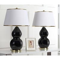 Safavieh Lighting 25.5-inch Zoey Double Gourd Black Table Lamp (Set of 2)