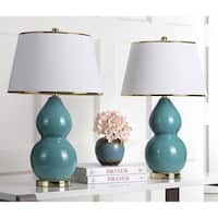 Safavieh Lighting 25.5-inch Zoey Double Gourd Marine Blue Table Lamp (Set of 2)