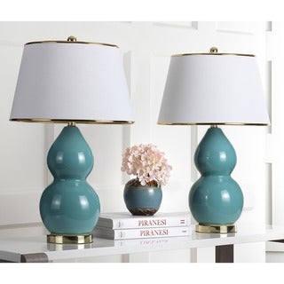 Safavieh Lighting 25.5-inch Zoey Double Gourd Marine Blue Table Lamps (Set of 2)