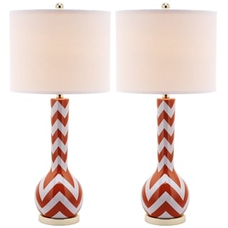 Safavieh Lighting 30.5-inch Chevron Long Neck Ceramic Orange Table Lamps (Set of 2)