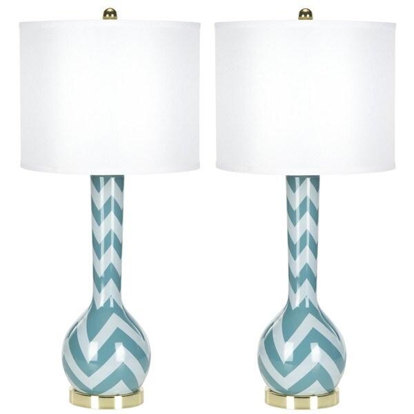 Safavieh Lighting 30.5-inch Chevron Long Neck Ceramic Marine Blue Table Lamps