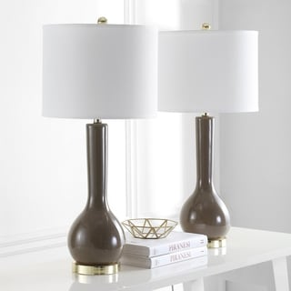 "Safavieh Lighting 31-inch Mae Long Neck Ceramic Taupe Table Lamp (Set of 2) - 14""x14""x30.5"""