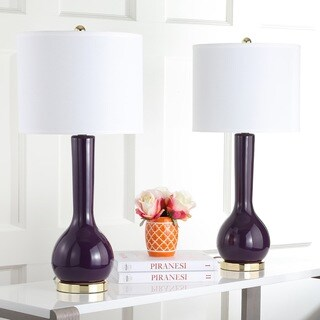 Safavieh Lighting 30.5-inch Mae Long Neck Ceramic Dark Purple Table Lamps