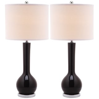 Safavieh Lighting 30.5-inch Mae Long Neck Ceramic Black Table Lamp (Set of 2)