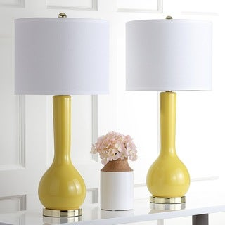 "Safavieh Lighting 31-inch Mae Long Neck Ceramic Yellow Table Lamp (Set of 2) - 14""x14""x30.5"""