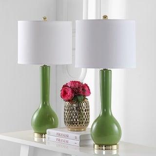Safavieh Lighting 30.5-inch Mae Long Neck Ceramic Green Table Lamp (Set of 2)