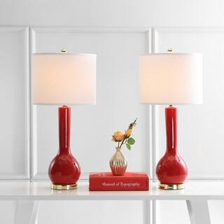 Safavieh Lighting 30.5-inch Mae Long Neck Ceramic Red Table Lamp (Set of 2)