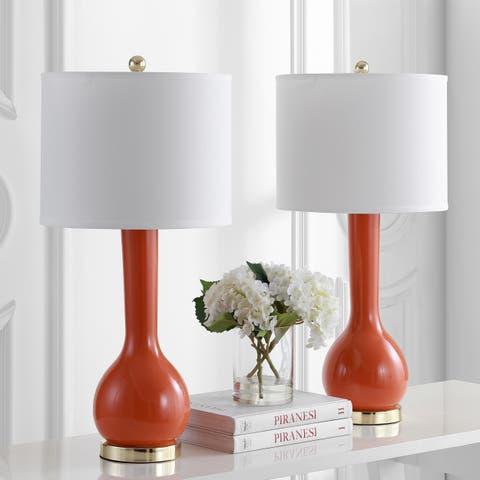 Safavieh Lighting 31-inch Mae Long Neck Ceramic Orange Table Lamp (Set of 2)