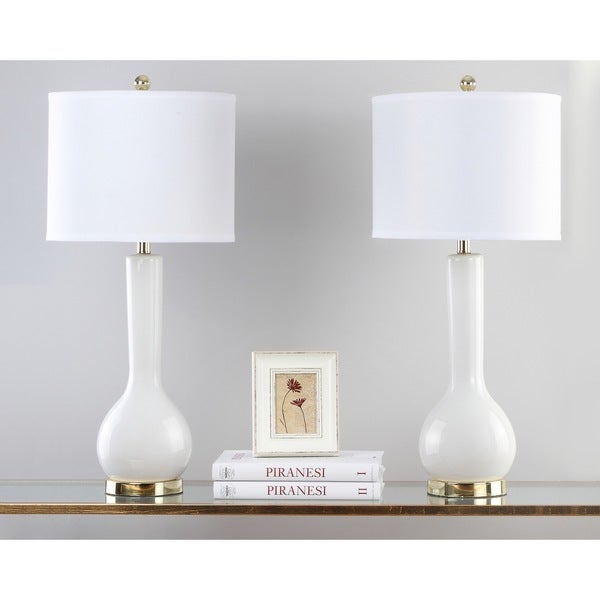 Safavieh Lighting 30.5 Inch Mae Long Neck Ceramic White Table Lamp (Set Of 2