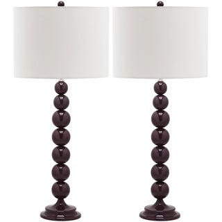 Safavieh Lighting 31-inch Jenna Stacked Ball Dark Purple Table Lamps (Set of 2)