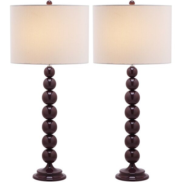 lighting 31 inch jenna stacked ball dark purple table lamps set of 2. Black Bedroom Furniture Sets. Home Design Ideas