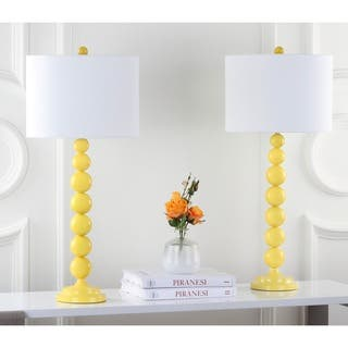 Safavieh Lighting 31-inch Jenna Stacked Ball Yellow Table Lamps (Set of 2)|https://ak1.ostkcdn.com/images/products/7570749/P14999985.jpg?impolicy=medium