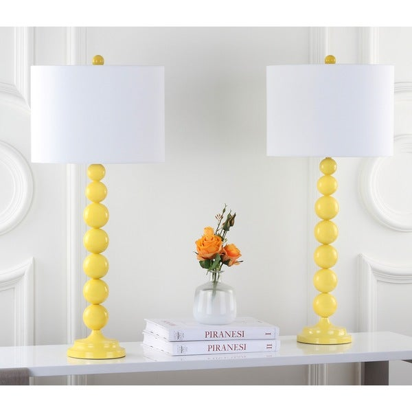 Safavieh Lighting 31 Inch Jenna Stacked Ball Yellow Table Lamps (Set Of 2)