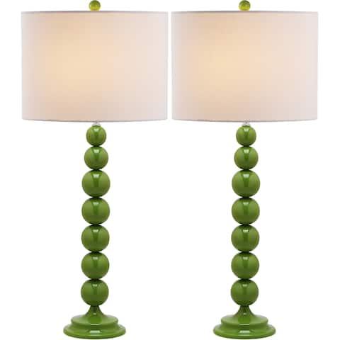 Safavieh Lighting 31-inch Jenna Stacked Ball Green Table Lamp (Set of 2)