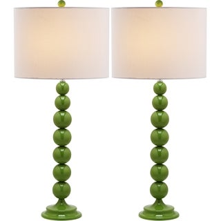 Safavieh Lighting 31-inch Jenna Stacked Ball Green Table Lamps (Set of 2)