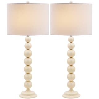 Safavieh Lighting 31-inch Jenna Stacked Ball Pearl White Table Lamps (Set of 2)