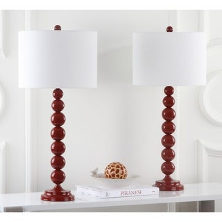 Safavieh Lighting 31-inch Jenna Stacked Ball Red Table Lamps (Set of 2)