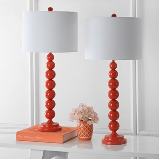 Safavieh Lighting 31-inch Jenna Stacked Ball Orange Table Lamp (Set of 2)
