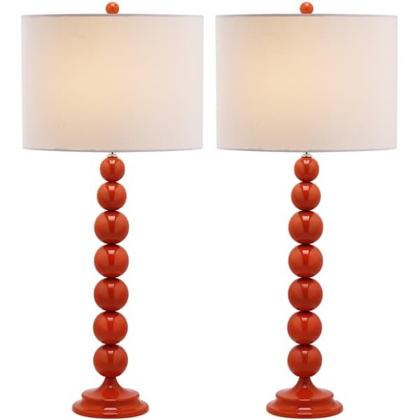 Safavieh Lighting 31-inch Jenna Stacked Ball Orange Table Lamp (Set of 2)