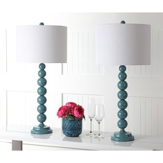 Safavieh Lighting 31-inch Jenna Stacked Ball Marine Blue Table Lamps (Set of 2)