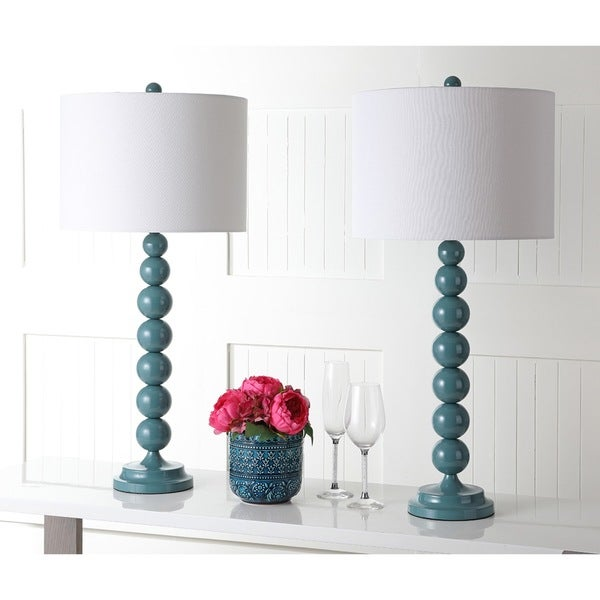 Safavieh Lighting 31-inch Jenna Stacked Ball Marine Blue Table Lamp (Set of 2)