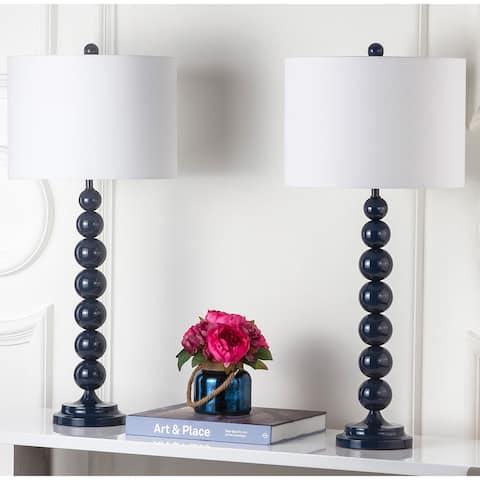 Safavieh Lighting 31-inch Jenna Stacked Ball Navy Table Lamp (Set of 2)