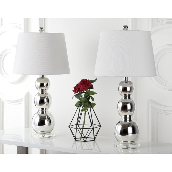 safavieh lighting 265inch jayne three sphere glass silver table lamps set of 2