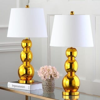 Safavieh Lighting 27.5-inch Jayne Three Sphere Glass Gold Table Lamps (Set of 2)