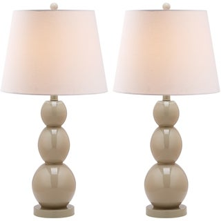 Safavieh Lighting 27.5-inch Jayne Three Sphere Glass Taupe Table Lamps (Set of 2)