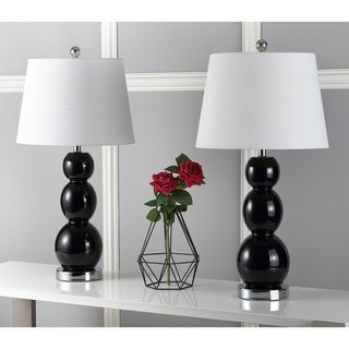 Safavieh Lighting 27.5-inch Jayne Three Sphere Glass Black Table Lamps (Set of 2)