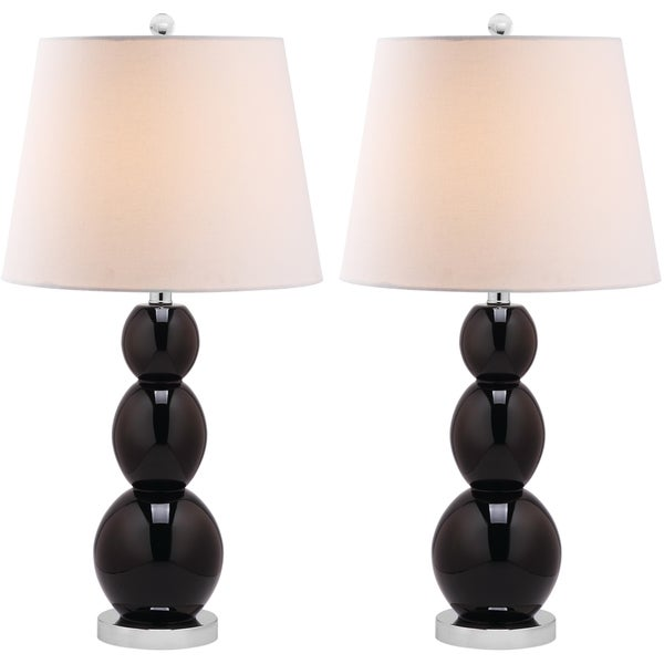 Safavieh Lighting 27.5-inch Jayne Three Sphere Glass Black Table Lamps (Set of 2)