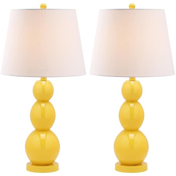 Safavieh Lighting 27.5-inch Jayne Three Sphere Glass Yellow Table Lamps (Set of 2)