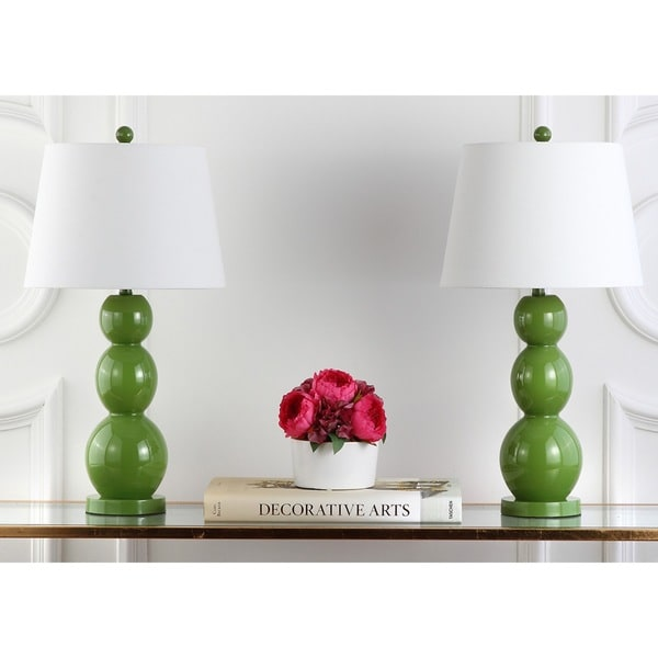 Safavieh Lighting 27.5-inch Jayne Three Sphere Glass Green Table Lamps (Set of 2)