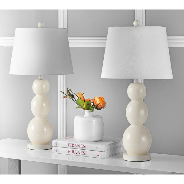 Safavieh Lighting 27.5-inch Jayne Three Sphere Glass Pearl White Table Lamps