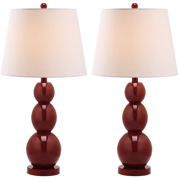 Safavieh Lighting 27.5-inch Jayne Three Sphere Glass Red Table Lamps (Set of 2)