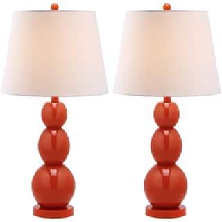 Safavieh Lighting 27.5-inch Jayne Three Sphere Glass Orange Table Lamps (Set of 2)|https://ak1.ostkcdn.com/images/products/7570772/P15000002.jpg?impolicy=medium
