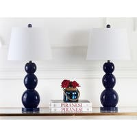Safavieh Lighting 27.5-inch Jayne Three Sphere Glass Navy Table Lamp (Set of 2)